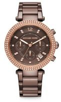 Michael Kors Parker Pave Sable IP Stainless Steel Bracelet Watch