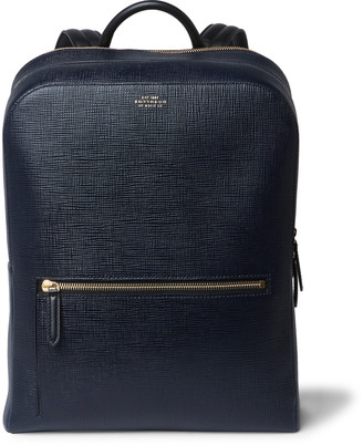 Smythson Panama Cross-Grain Leather Backpack
