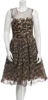 Oscar de la Renta Silk Feather Embellished Dress