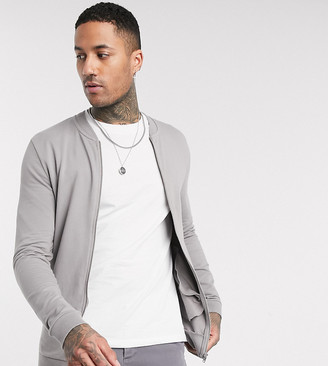 ASOS DESIGN Tall muscle jersey bomber jacket in gray
