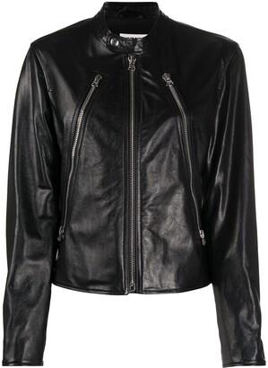 MM6 MAISON MARGIELA Band Collar Zipped Leather Jacket