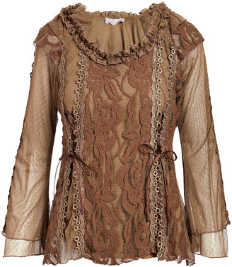 Pretty Angel Women's Blouses Brown(BR) - Brown Waved Lace Linen-Blend Top - Women
