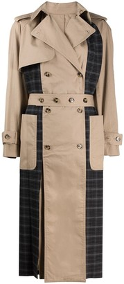 Rokh Check-Panel Trench Coat