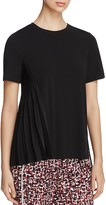 DKNY Asymmetric-Pleat Short Sleeve Top