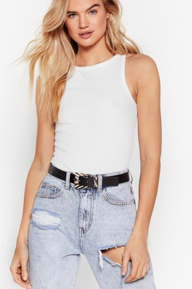 Nasty Gal Womens Faux Leather Forget You Buckle Belt - Black