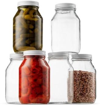 clear Shopokus Glass Mason Jars 32 Ounce (1 Quart) 6 Pack Regular Mouth, Metal Lid, Dishwasher Safe, For Pickling, Preserving, Canning Jar, Dry Food Storage, Craft Storage, Decorating Jar