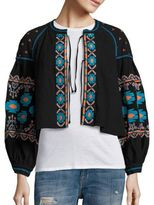 Free People Embroidered Swingy Cropped Jacket