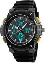 Fanmis Men's Analog Digital LED Watches Military Multifunctional Waterproof Quartz Sports Watch Yellow