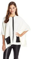 Calvin Klein Women's Sweater Cape with Faux Leather Pocket