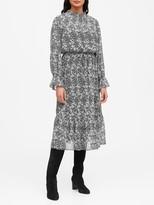 Banana Republic Print Sheer Midi Dress