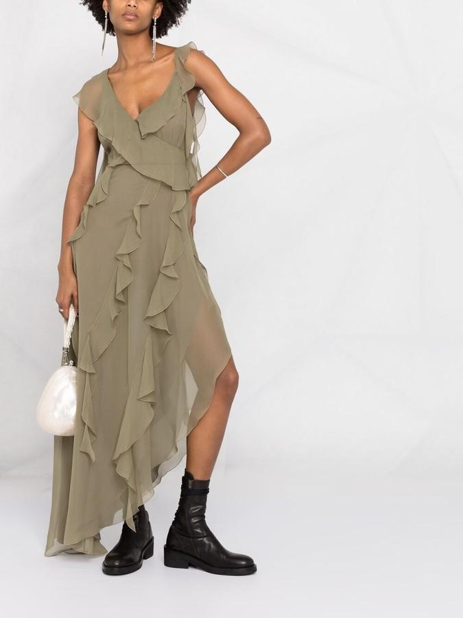 Thumbnail for your product : Blumarine Asymmetric Ruffle-Flounce Silk Dress