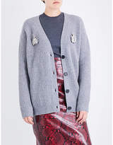 Rochas Bug brooch knitted cardigan