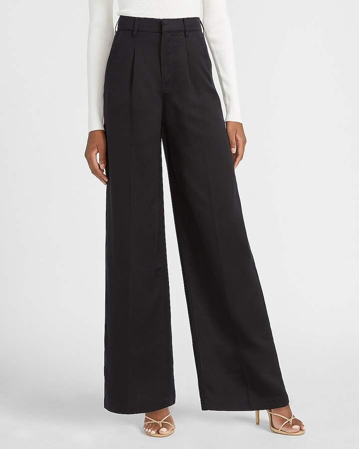 Express High Waisted Pleated Wide Leg Utility Pant