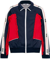 MSGM Color-block Ruffled Tech-jersey Jacket - Navy