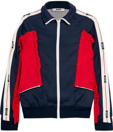 MSGM Color-block Ruffled Tech-jersey Jacket - Navy