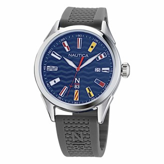 Nautica Men's Quartz Silicone Strap Gray 20 Casual Watch (Model: NAPHBF002)