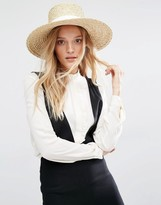 MANGO Straw Hat With White Band