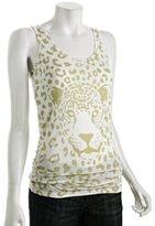Torn ivory cheetah print jersey 'Brigitte' tank