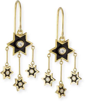 Amrapali Legend 18k Mini Enamel Star Chandelier Earrings w/ Diamonds