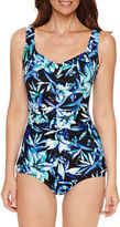 AZUL BY MAXINE OF HOLLYWOOD Azul by Maxine of Hollywood Floral Girl Leg One Piece Swimsuit