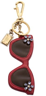 Dolce & Gabbana Floral Crystal Embellished Pink Leather Sunglass Keyring