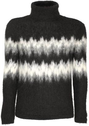 Saint Laurent Intarsia Mohair Blend Turtleneck Sweater