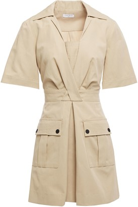 Sandro Kassandre Pleated Cotton And Linen-blend Mini Dress