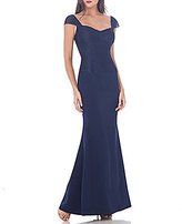 JS Collections Cap-Sleeve Sweetheart Neck Mermaid Gown