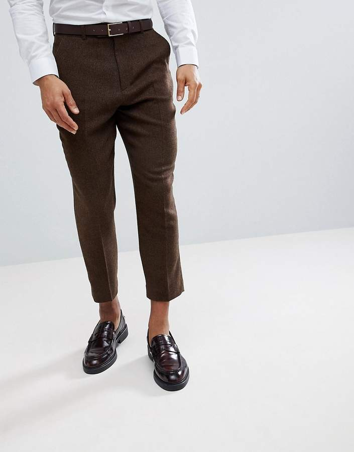 Asos Design Tapered Smart Pants In Rich Brown Wool Mix Texture