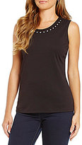 Allison Daley Petite Sleeveless Embellished Solid Knit Top