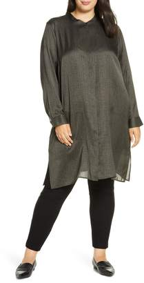 Eileen Fisher Long Sleeve Silk & Cotton Tunic Top