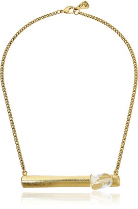 Yochi Bar and Stone Gold Necklace 18""