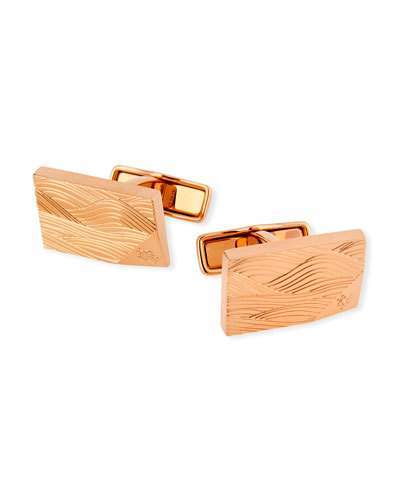 Dunhill Wave-Embossed Pink Gold-Plated Cuff Links