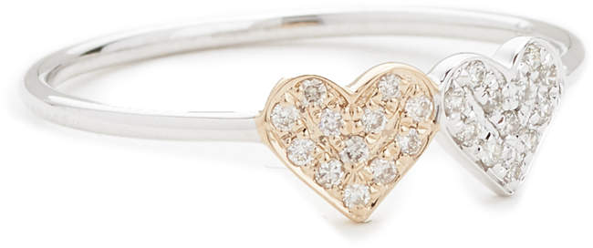 Sydney Evan 14k Gold Small Double Heart Ring