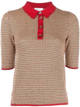 Rosetta Getty Zig-Zag Knit Polo Shirt