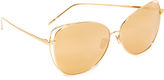 Linda Farrow Luxe Cat Mirrored Sunglasses