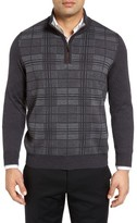 Thomas Dean Men's Quarter Zip Check Wool Sweater