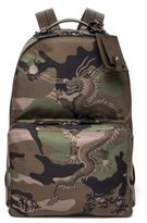 Valentino Leather-Trim Camo Dragon Backpack