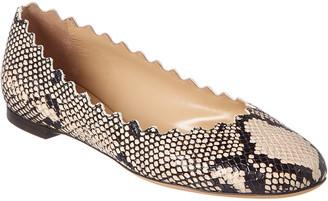 Chloé Lauren Scalloped Snake-Print Leather Ballerina Flat