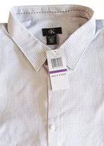 Calvin Klein Men's Casual Dress Button Front Shirt (, / Black Pixel Stripe)