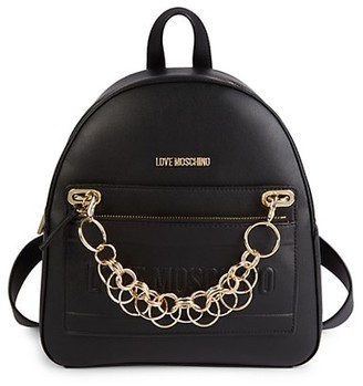 Love Moschino Logo-Embossed Chain Faux Leather Backpack