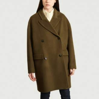 Closed Oversize Khaki Woolen and Cashmere Herby Coat - xs | wool | khaki - Khaki