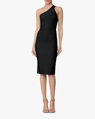 Herve Leger Asymmetrical One-Shoulder Dress