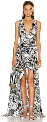 Silvia Tcherassi Egle Dress in Black & White Marble   FWRD
