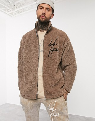 ASOS Dark Future oversized track top in teddy borg with embroidery