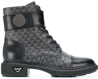 Emporio Armani Logo Print Combat Boots