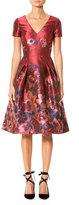 Carolina Herrera Short-Sleeve V-Neck Floral-Print Dress