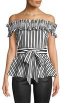 Kate Spade Candy Stripe Off-The-Shoulder Top