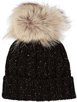 Crown Cap MEN'S FUR-EMBELLISHED MARLED LAMBSWOOL-BLEND BEANIE