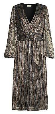 Rebecca Vallance Women's Bellagio Plisse Metallic Midi Wrap Dress - Size 0